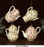 Holly Scroll Teapot Ornaments