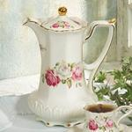 Ivory Swan Rose Cocoa Pot